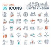 Metta la linea piana icone di vettore BRITANNICA Fotografie Stock