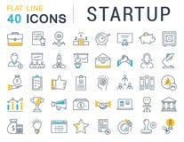 Metta la linea piana icone di vettore Startup Fotografia Stock
