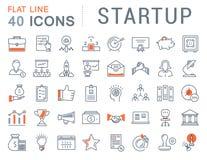 Metta la linea piana icone di vettore Startup Immagini Stock