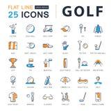 Metta la linea piana il golf di vettore delle icone Immagini Stock