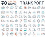 Metta la linea piana il trasporto di vettore delle icone Fotografie Stock