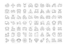 Metta la linea piana il trasporto di vettore delle icone illustrazione vettoriale