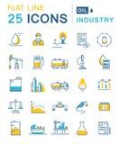 Metta la linea piana industria petrolifera di vettore delle icone Immagine Stock Libera da Diritti