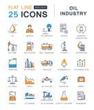 Metta la linea piana industria petrolifera di vettore delle icone Immagine Stock