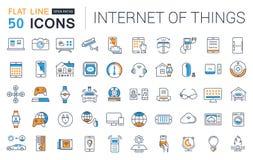 Metta la linea piana Internet di vettore delle icone delle cose Fotografia Stock Libera da Diritti