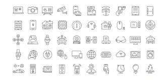 Metta la linea piana Internet di vettore delle icone delle cose Immagine Stock Libera da Diritti