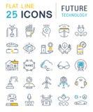 Metta la linea piana la tecnologia di vettore di futuro delle icone Fotografia Stock