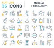 Metta la linea piana laboratorio medico di vettore delle icone Fotografia Stock Libera da Diritti