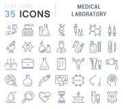 Metta la linea piana laboratorio medico di vettore delle icone Immagine Stock Libera da Diritti