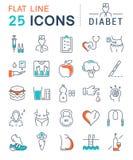 Metta la linea piana le icone Diabet di vettore Fotografia Stock Libera da Diritti