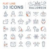Metta la linea piana le icone Halloween di vettore Fotografia Stock Libera da Diritti