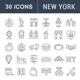 Metta la linea piana le icone New York di vettore Fotografia Stock Libera da Diritti