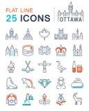 Metta la linea piana le icone Ottawa di vettore Fotografie Stock Libere da Diritti