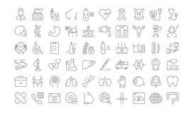 Metta la linea piana medicina di vettore delle icone Fotografia Stock