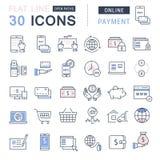 Metta la linea piana pagamento online di vettore delle icone Immagini Stock