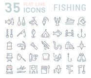 Metta la linea piana pesca di vettore delle icone Fotografia Stock Libera da Diritti