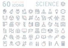 Metta la linea piana scienza di vettore delle icone Fotografie Stock