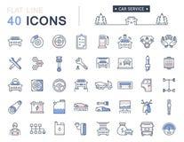 Metta la linea piana servizio di vettore dell'automobile delle icone Immagini Stock