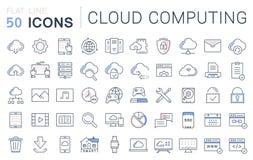 Metta la linea piana servizio di vettore della nuvola delle icone Immagine Stock Libera da Diritti