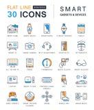 Metta la linea piana Smart Device di vettore delle icone Fotografie Stock Libere da Diritti