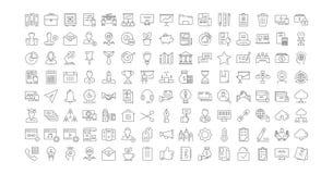 Metta la linea piana ufficio ed affare di vettore delle icone Fotografie Stock Libere da Diritti
