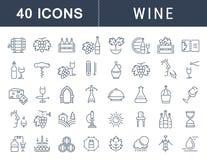 Metta la linea piana vino di vettore delle icone Immagine Stock