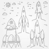 Metta la linea sottile icona dei razzi Volo spaziale umano Vettore Fotografie Stock
