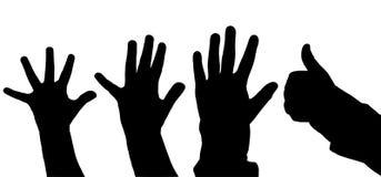 Metta la mano della siluetta Fotografie Stock Libere da Diritti