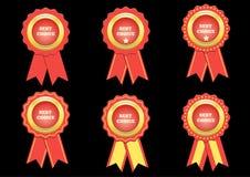 Metta la migliore etichetta rossa choice di vettore con i nastri Immagine Stock