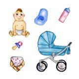 Metta la mobilia del ` s dei bambini VSketch differente per le culle e le carrozzine del bambino illustrazione vettoriale