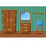 Metta la mobilia di legno divertente del fumetto, salone Immagini Stock
