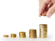 Metta la moneta alla scala dei soldi Immagine Stock Libera da Diritti
