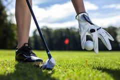 Metta la palla da golf su un piolo sul campo Fotografie Stock Libere da Diritti