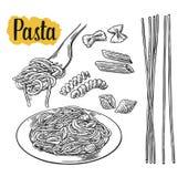 Metta la pasta - il farfalle, il conchiglie, il penne, il fusilli, spaghetti Immagini Stock Libere da Diritti