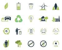 Metta la raccolta delle icone dell'ecologia di vettore nei colori piani di progettazione due Aria pulita, oggetto riciclabile per illustrazione vettoriale