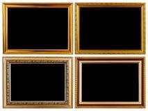 Metta la struttura di legno d'annata della foto dell'oro isolata su bianco Spirito conservato Immagini Stock