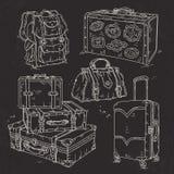 Metta la valigia, la borsa e lo zaino per fondo nero attinto viaggio Immagine Stock