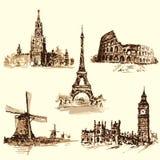 Metta le attrazioni, il Cremlino, la torre Eiffel, il Colosseum, t Fotografie Stock
