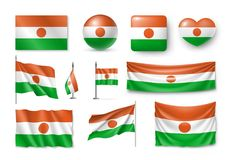 Metta le bandiere del Niger, le insegne, i simboli, icona piana royalty illustrazione gratis