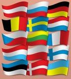 Metta le bandiere di Europa europa Vettore fotografie stock