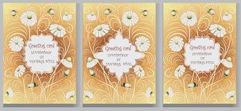 Metta le cartoline d'auguri Feste fissate con fondo floreale Fotografie Stock