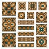 Metta le collezioni di confini e di mattonelle geometrici illustrazione di stock