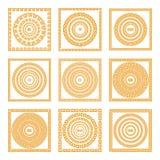 Metta le collezioni di vecchi ornamenti greci Il vecchio stile arancio rasenta i precedenti scuri Reticoli etnici Illustrazioni d illustrazione di stock