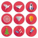 Metta le icone con ombra su un fondo rosso Fotografia Stock Libera da Diritti