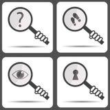 Metta le icone con una lente d'ingrandimento Icona dell'agente investigativo Fotografia Stock