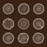 Metta le icone degli anelli di albero Immagine Stock Libera da Diritti