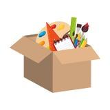 metta le icone dei rifornimenti di scuola Immagine Stock
