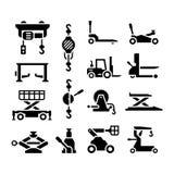 Metta le icone dell'attrezzatura di sollevamento Fotografia Stock