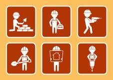 Metta le icone della costruzione con l'uomo dei costruttori Fotografie Stock Libere da Diritti