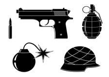 Metta le icone delle armi illustrazione di stock